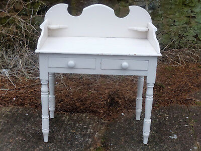 Lovely Antique Pine Washstand-Shabby Chic Light Cream Paint-2 Drawers-V.sturdy