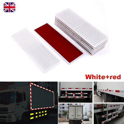 2X White+red Rectangular E-Approved Reflectors for Trailer Caravan Gateposts