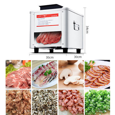 220V 850W Stainless Steel Meat Cutting Machine Meat Beef Slicer w/Slicing Blades