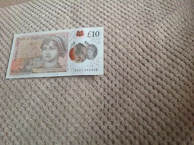10 pound note *AA01* serial number.