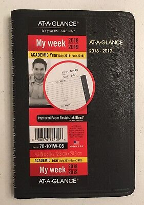 NEW AT-A-GLANCE 2018-2019 Academic Year Weekly Planner/Appointment Book Black