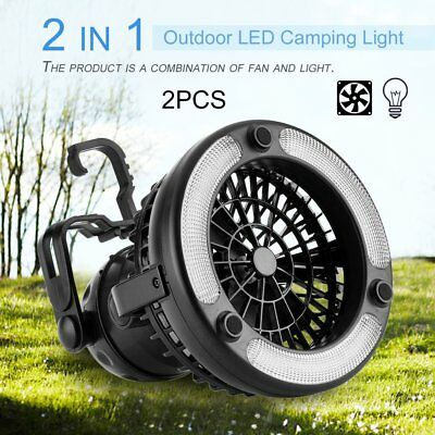 2 In 1 Outdoor LED Camping Light Portable Fan Lantern Lamp Ceiling Light