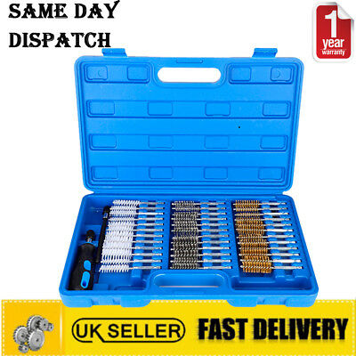 38Pc Small Thin Wire Brush Set Brass Hex Head Handle Drill Bit Pipe Cleaning Kit