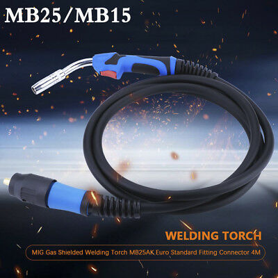MIG Gas Shielded Welding Torch MB15AK/MB25AK Euro Standard Fitting Connector 4M
