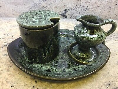 Vintage Retro Fosters Pottery Cornwall Green Black Honeycomb 3 Piece Table Set.