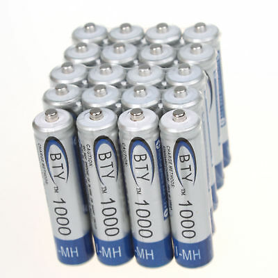 20 x BTY High Quality Home Ni-MH AAA 1000mAh 1.2V Rechargeable Battery Hot sale
