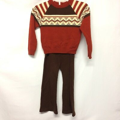 Vintage Toddler Knit Two Piece Pants Sweater 1970s 4T Brown Red Cream