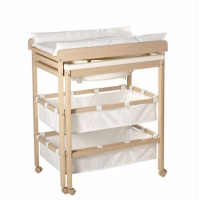 Baby Changing Dresser Station Unit Table With Wheels — 3 Levels
