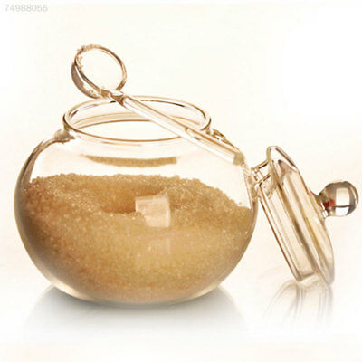 250ml Clear Glass Sugar Bowl Container With Lid And Spoon Home Kitchen Accessory