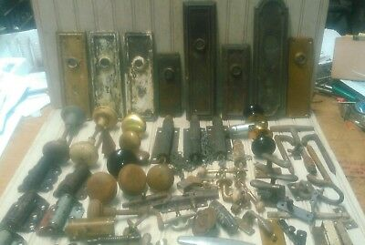 Lot Of Antique Vtg Door Hardware Knobs,plates,hinges,Handles Etc