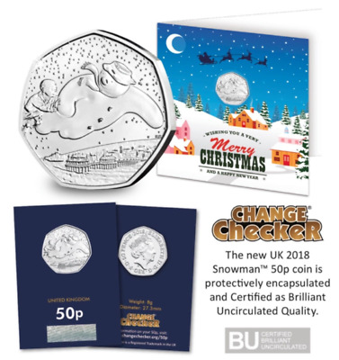 NEW UK 2018 Snowman 50p Christmas Card Brilliant Uncirculated Fifty Pence Coin
