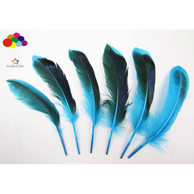 Diy 100 Pcs natural duck feather dyed lake blue 10-15 cm/4-6in Carnival headress
