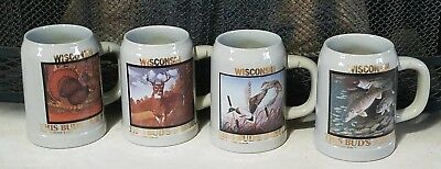 ANHEUSER BUSCH BUDWEISER 1990 Wisconsin This Buds For You Stein Set Of 4