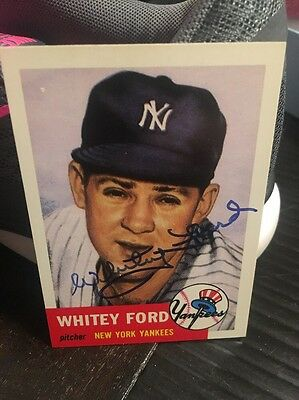 Whitey Ford Signed 1953 Topps Reprint New York Yankees Card