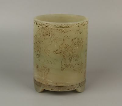 Chinese Exquisite Hand-carved children play Text carving Hetian jade Brush Pot