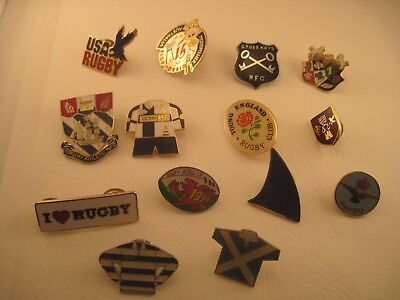 Job Lot of Rugby Badges - 14 Rugby Badges inc England, Wales and Rugby Clubs