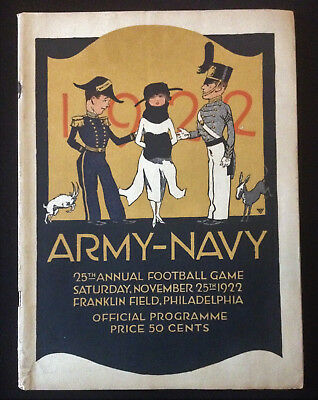 25th Annual Army Navy Football Game Program Nov 25 1922