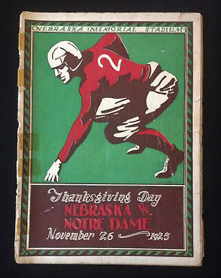University of Nebraska Football Program Nov 26 1925 Notre Dame