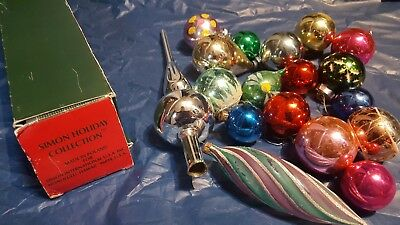 Job Lot of old vintage glass Christmas baubles and topper