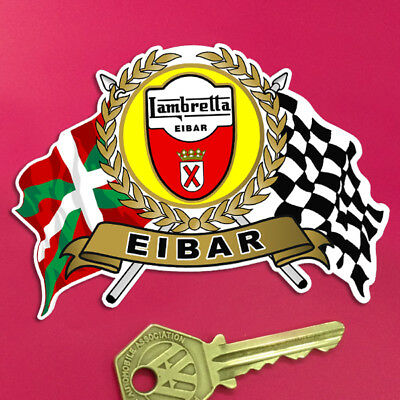 LAMBRETTA EIBAR Garland Shield and crossed Italian and Chequered Flags sticker