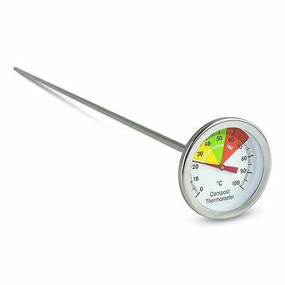 Bimetal Stainless Steel Garden Compost / Soil Thermometer with a 50 mm Dial
