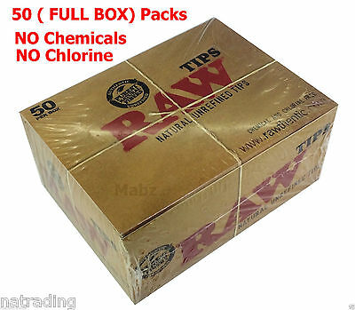 RAW Rolling Natural Unrefined Filter Tips - FULL BOX of 50 Booklets