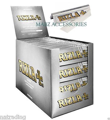 Rizla Cigarette Super Thin Rolling Papers Silver FULL BOX of 100 Booklets