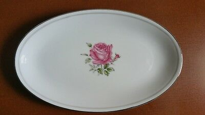 Imperial Rose Fine China Gravy Boat Plate #6702 White w/ Silver Trim Japan
