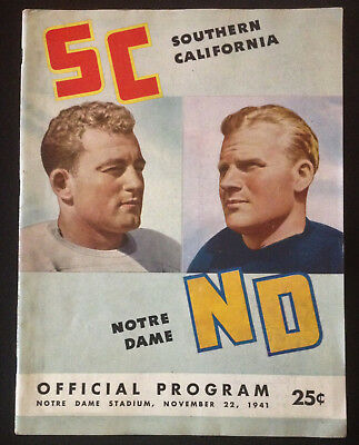 University of Notre Dame Football Program Nov 22 1941 USC Southern California