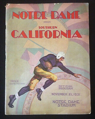 University of Notre Dame Football Program Nov 21 1931 USC Southern California