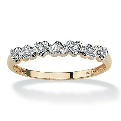 Diamond Accent 10k Gold Multi-Heart Promise Band Ring