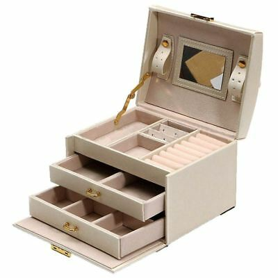 1X(Large Jewellery Box Armoire Dressing Chest with Clasps Bracelet Ring Org X4N7
