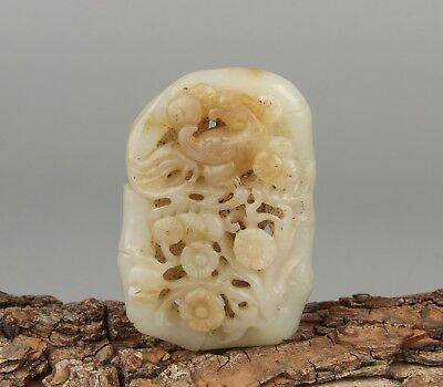 Chinese Exquisite Hand-carved flower Phoenix Carving Hetian jade pendant