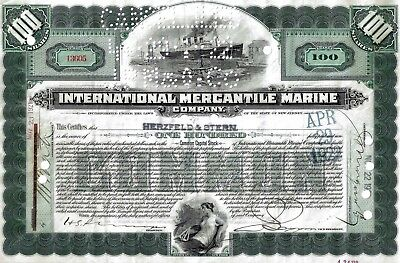 International Mercantile Marine Company, 1921  (100 Shares) 2 Vignetten