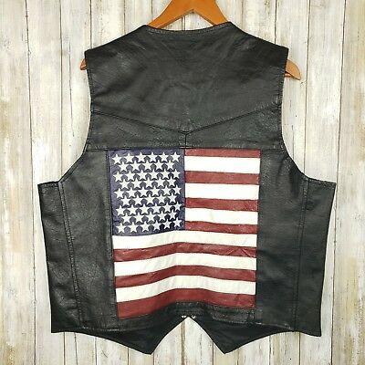 Leather Club Genuine Leather Biker Motorcycle Vest American Flag USA Large o