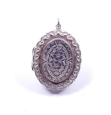 Antique Victorian Locket Adie & Lovekin Repousse Sterling Silver 1880 HM 8.3g