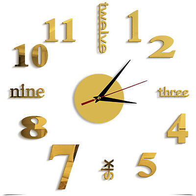 DIY 3D Number Mirror Wall Clock Sticker Decor for Home Office Living Bedroom UK