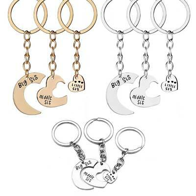 3pc Big Middle Little Sis Sisters Key Chain Ring Set Friendship Best Friends