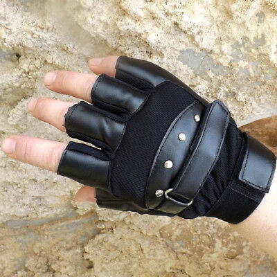 Men's PU Leather Gloves Half Finger Fingerless Stage Sports Cycling Driving New