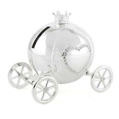 Silver Plated Baby's Girl Cinderella Diamante Carriage Money Box Baby Gift New