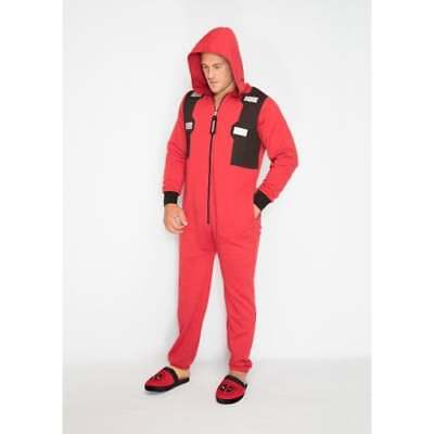 OFFICIAL Marvel Deadpool Red & Black Hooded Jumpsuit Adults Large Outfit