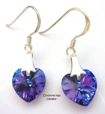 Sterling Silver Heliotrope Purple Crystal Heart Hook Earrings Swarovski Elements