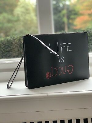 NEW LIFE IS GUCCI New Limited Edition Large Black Leather Pouch GucciGhost