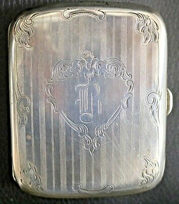 "Vintage 925 Sterling Silver Cigarette Case Early 1900s Monogrammed "" B """