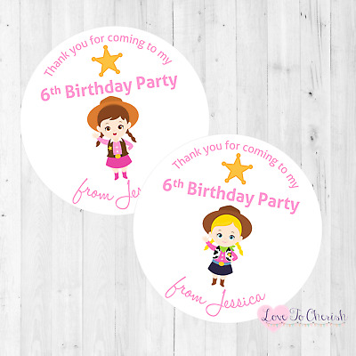 Personalised Cowboy Cowgirl Birthday Party Stickers Labels Thank Sweet Cone 37mm
