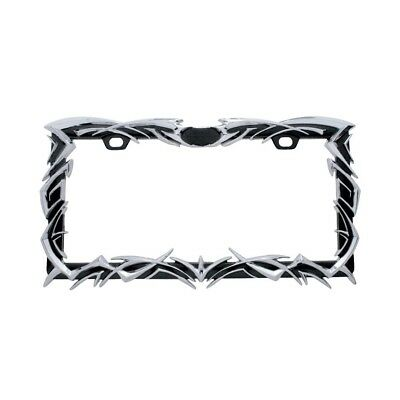 Tribal Flame License Plate Freame - Black/Chrome