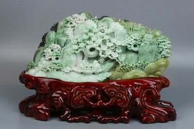 China Exquisite Hand-carved Natural human landscape carving Dushan jade Statue
