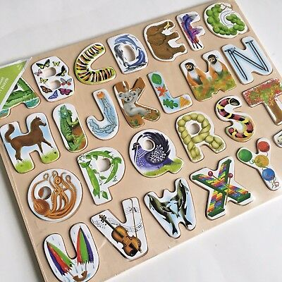 New ABC Wooden Alphabet Puzzle Preschool & Toddler Learning Toy with Animals
