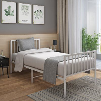 Modern White Metal Bed Frame 3FT SINGLE BED Bedroom Headboard for Adult Children