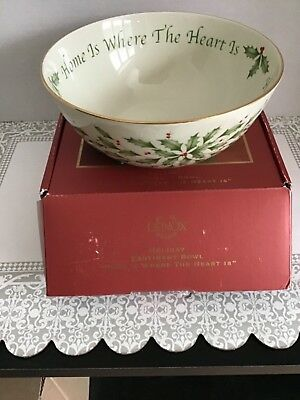 """Lenox Holiday Sentiment Bowl, *home is where the heart is*, 7"""" Dia, NIB"""